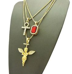 ICED OUT HIP HOP ANKH, RED RUBY & ANGEL PENDANT BOX CHAINS 3PCS NECKLACE SET S12