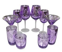 Platinum Purple Glassware Set from The Purple Store! Purple Kitchen Accessories, Fun Wine Glasses, Purple Furniture, All Things Purple, Purple Stuff, Purple Home, Purple Christmas, Purple Reign, Purple Glass