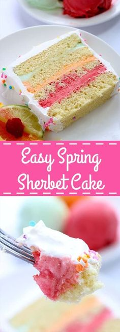 This Easy Spring Sherbet Cake will be great for Easter dessert or spring and summer parties! Super simple since we start with a boxed cake mix then layer with refreshing sherbet. Light and delicious! Desserts Ostern, Köstliche Desserts, Frozen Desserts, Delicious Desserts, Dessert Recipes, Sweet Desserts, Appetizer Recipes, Easter Recipes, Holiday Recipes