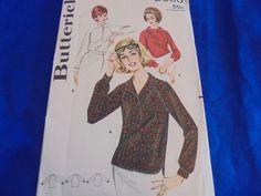 SZ 16 BUTTERICK 2980 RAGLAN SLEEVE TOPS SEWING PATTERN 1960S RETRO  #Butterick