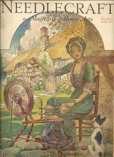 Needlecraft The Magazine of Home Arts, October 1929 - spinning wheel, cottage