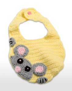 This crocheted baby bib is adorable.