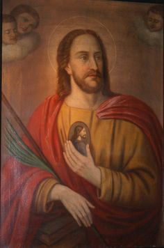 San Judas Tadeo, portando sobre su pecho una imagen de Jesús con forma de medallón. (Santuario de Heisterbacherrott, en Renania del Norte)