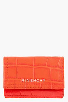 GIVENCHY Red Croc Embossed Leather Envelope Wallet Givenchy