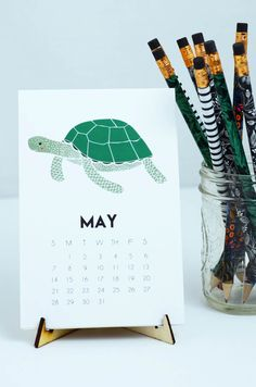 Under The Sea Desk Calendar Features 12 Sea Creature Designs Includes a display…