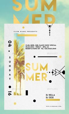 Summer Abstract — Photoshop PSD #concert #techno • Available here → graphi... - Bashooka Web & Graphic Design - #Abstract #Bashooka #concert #Design #graphi #Graphic #Photoshop #PSD #Summer #techno #Web Flugblatt Design, Design Food, Beach Design, Flyer Design Inspiration, Dubstep, Banners, Plakat Design, Summer Poster, Event Posters