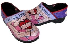 Hand painted Sanita women's clogs, so cute for a nurse or Dr!