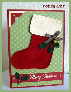 One of my fave Christmas cards I've made for 2011.  I used a Sizzix Bigz Stocking die with a matching embossing folder.  Stocking cut and embossed with velvet paper - lush!