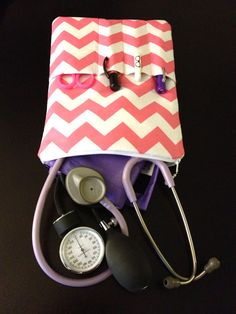 PINK chevron NURSE PURSE medical case, stethoscope and bp cuff - shown in pink and white (medical pouch, pockets for penlight and tools) on Etsy, $46.00