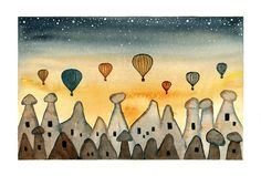 Original watercolor painting Cappadocia sunrise Hot by bluepalette