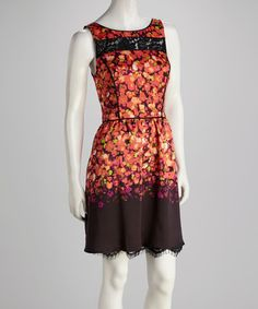 Take a look at this Coral Lace Floral Dress on zulily today!