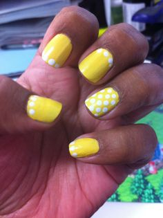 Morgan Taylor. Doo wop and All white now.  Yellow polka dot bikini.