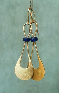 Ancient Roman glass bead earrings