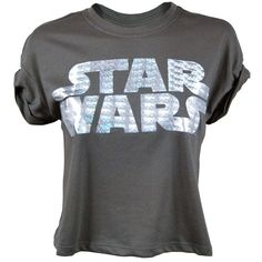 Womens Star Wars Foil Logo T Shirt Black from Jukupop ($26) ❤ liked on Polyvore featuring tops, t-shirts, shirts, blusas, foil t shirts, logo tops, logo tee, tee-shirt and logo t shirts