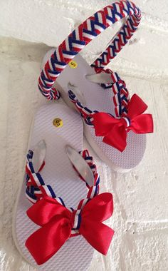 ca5e95588f38 PATRIOTIC Embellished Flip Flops n Matching Headband by  SugarBowShoppe  Cheap Flip Flops