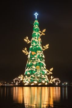 World's largest floating Christmas tree lit up in Brazil! | Just Imagine - Daily Dose of Creativity