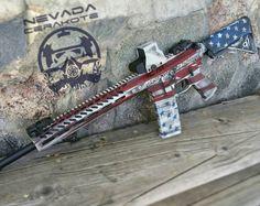 NRA Awesome American Flag Guns by Nevada Cerakote - Weapons Guns, Guns And Ammo, Gun Vault, Submachine Gun, Custom Guns, Hunting Guns, Fire Powers, Assault Rifle, Cool Guns