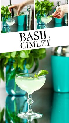 Basil Gimlet Cocktail - say hello to your new favorite summer cocktail!  With only 4 ingredients, this cocktail is so easy to make and so refreshing!  Perfect for picnics, barbecues or summer parties!  A great way to use your fresh basil in this pretty basil cocktail! Classic Gin Cocktails, Easy Summer Cocktails, Gin Cocktail Recipes, Fruity Cocktails, Non Alcoholic Drinks, Summer Parties, Cocktail Drinks, Party Food And Drinks, Fun Drinks