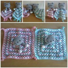 tutteldoekje poes Crochet Baby Toys, Crochet Animals, Crochet For Kids, Crochet Dolls, Free Crochet, Crochet Hats, Crochet Security Blanket, Lovey Blanket, Baby Blanket Crochet