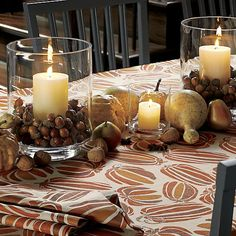 Gourds, acorns and candles, Pumpkin Patch Tablecloth | Crate and Barrel