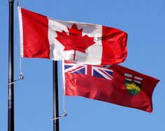 Ontario and Canadian flags Cool Countries, Countries Of The World, The Great White, Red And White, Canadian Flag Tattoo, Ontario, Canada Eh, Flags Of The World, Canadian Flags