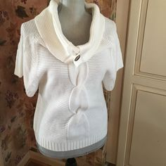 white short sleeves sweater  100% acrylic. Can be worn different ways. See pics. Worn but no stains or rips. Smoke and pet free home. Iz Byer Sweaters Cowl & Turtlenecks