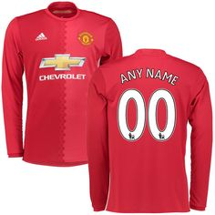 Manchester United adidas Replica Custom Home 2016/17 Long Sleeve Jersey - Red - $114.99