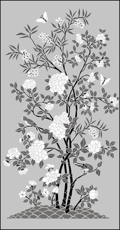 Click to see the actual CH17 - Small Peony Panel No 2 stencil design.