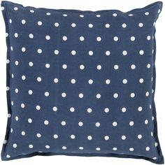 Surya Navy & Ivory Polka Dot Decorative Pillow SUPD009