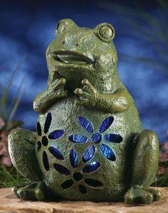Solar Light Garden Frog Outdoor Yard Statue Home Decor Accent NEW I6219J44
