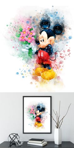 Mickey Mouse Nursery, Mickey Mouse Art, Disney Crafts, Disney Art, Mickey Mouse Decorations, Baby Food Jar Crafts, Cute Disney Drawings, Disney Paintings, Watercolor Disney