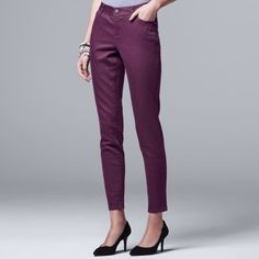 Women's Simply Vera Vera Wang Skinny Jeans, Size: 12 Short, Med Purple