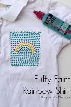 Puffy Paint Rainbow Shirt  |  Use Puffy Paint to make a fun rainbow themed shirt