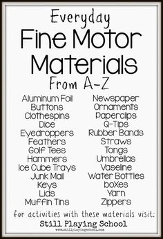 A list of fine motor tools for kids that you already have at home plus ideas for activities to do with them!