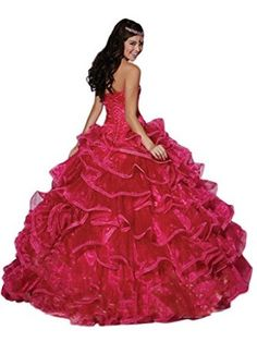 2cee3747a29 Chupeng Women s Sweetheart Ball Gowns Silvery Beaded Pleats Formal Quinceanera  Dresses Pink 2 at Amazon Women s Clothing store