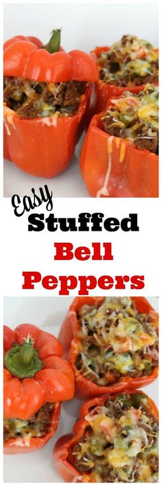 This easy stuffed bell pepper recipe is perfect for a weeknight meal. You won't believe how great it makes your house smell! Plus it's kid pleasing.