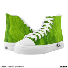 Green Textured High-Top Sneakers