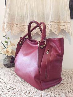 Red leather satchel tote, high quality genuine leather, elegant design, women spring purse with multiple pockets, red tote bag, gift for her