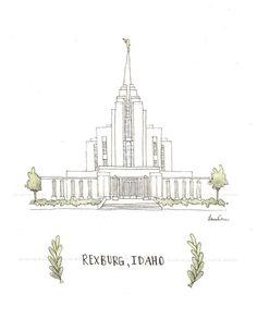 Rexburg ID Temple Archival Print by by mysweetroseillustrat