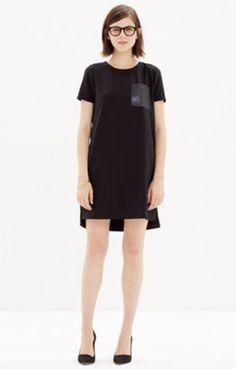 Leather-Pocket T-Shirt Dress