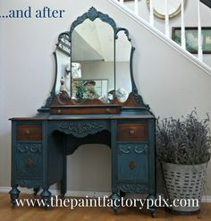 Dark Blue Antique Vanity. ASCP Napoleonic Blue/Antibes/Graphite mix.  General Finishes Van Dyke Glaze, and Java Gel Stain By Diane at The Paint Factory