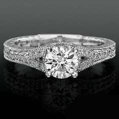 Artistic Hand Carved Design Split Shank Diamond Engagement Ring - Along the outer shank you're treated to an artistic grandeur of designs hand carved in detail on both sides of the band meeting up to a circle shaped vortex of diamonds Wedding Rings Vintage, Wedding Bands, Diamond Rings, Diamond Engagement Rings, Designer Engagement Rings, Princess Cut Diamonds, Anniversary Rings, Bling, Wedding Centerpieces