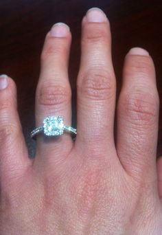 Princess cut, halo setting.. Love my ring!!