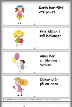 Learn Swedish, Swedish Language, Sentences, Worksheets, Crafts For Kids, Preschool, Teacher, Anna, Education