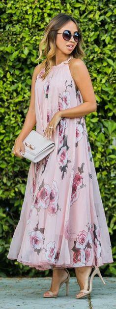 Lace & Locks Swing Pink Floral Maxi Dress