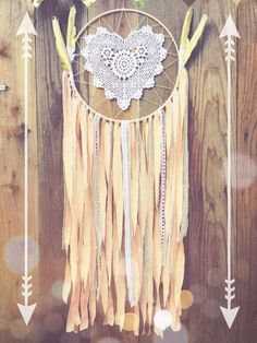 Peach White & Gold Shabby Chic Glitter Feather Lace Heart Crochet Doily Boho Dreamcatcher by Unicorns4Evaa