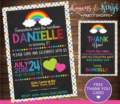 Rainbow invitation rainbow birthday invitation by QueensnKingsPS
