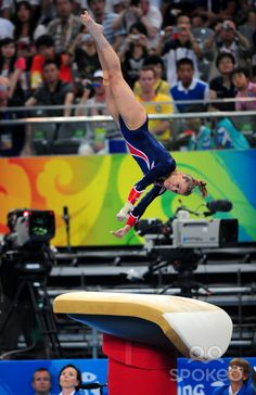 Alicia Sacramone (United States) on vault at the 2008 Beijing Olympics