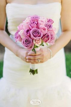 Lavender and ivory roses.