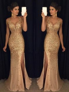 Luxurious Mermaid V-neck Sequin Gold Long Prom Dresses V-neck Prom Dresses Sequin Prom Dresses Sleeveless Prom Dresses Prom Dresses Mermaid Prom Dresses Prom Dresses Long Split Prom Dresses, Sequin Prom Dresses, Prom Dress Stores, Prom Dresses 2018, Prom Dresses For Sale, Mermaid Evening Dresses, Formal Dresses For Women, Evening Gowns, Bridesmaid Dresses